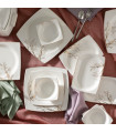 Karaca Autumn Cream 60-teiliges Tafelservice für 12 Personen Eckig