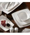 Karaca Talia Cream 60-teiliges Tafelservice für 12 Personen Platin Eckig