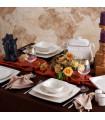Karaca Batik Cream 60-teiliges Tafelgeschirr-Set für 12 Personen Gold Quadrat